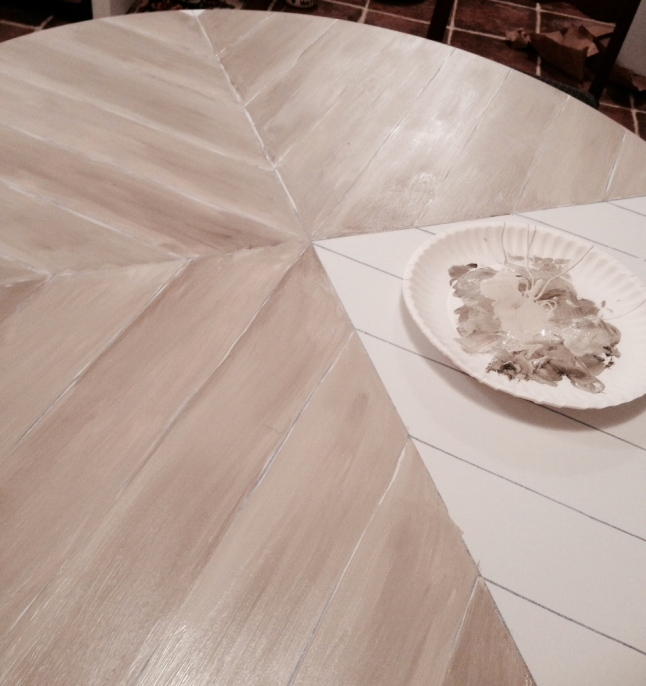 painting faux wood planks on the table top
