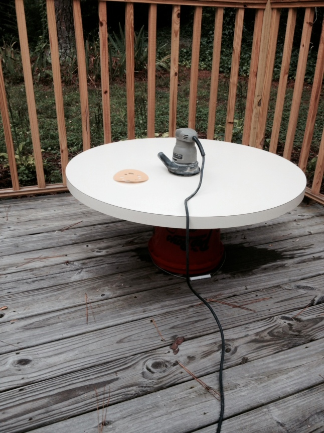 sanding laminate top with orbital sander